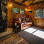 Cottage #15: Living Room with gas fireplace, AC, vaulted ceilings, All American Leather sleeper sofa
