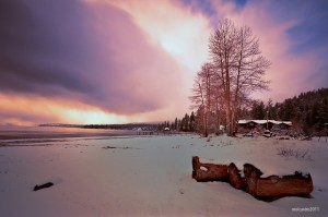 pink sky with snow